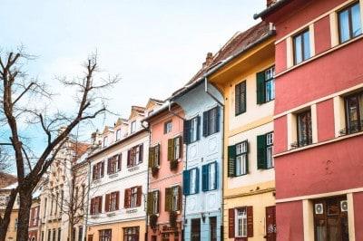 pastel building Sibiu Romania