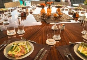 Table decor on superyacht
