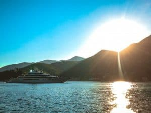 yacht and sunset Montenegro