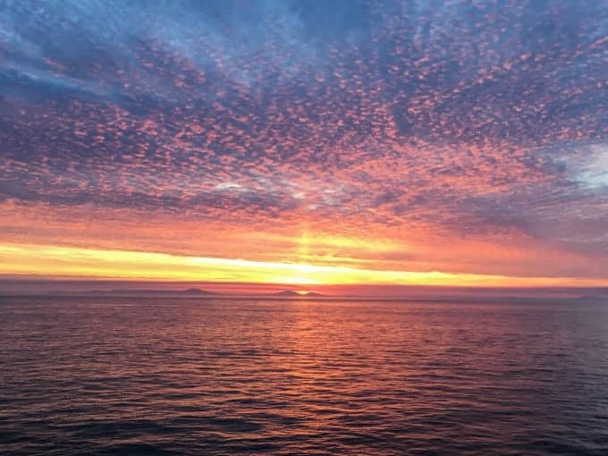 Stunning sunset in the Northern Sea