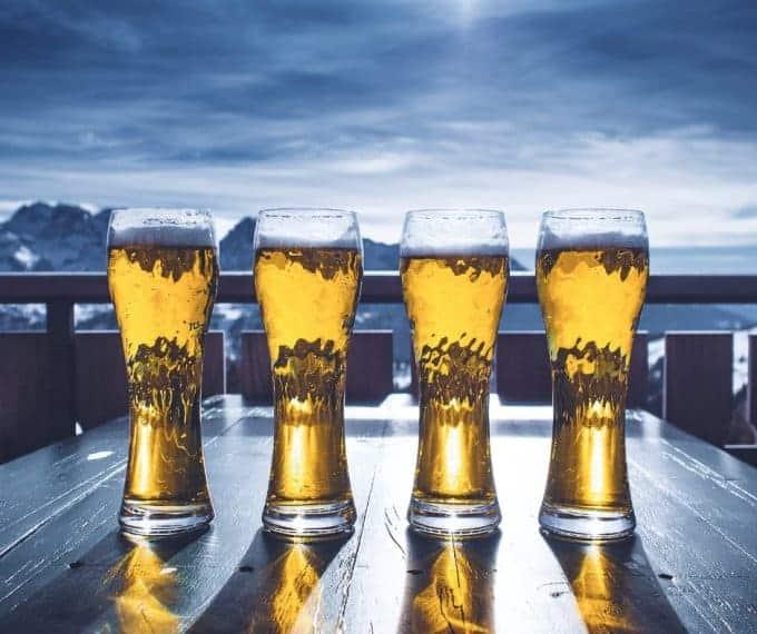 ski break for some beer