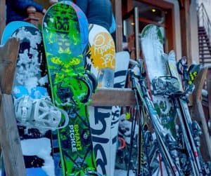 snowboard and ski on rack at Australian ski resort
