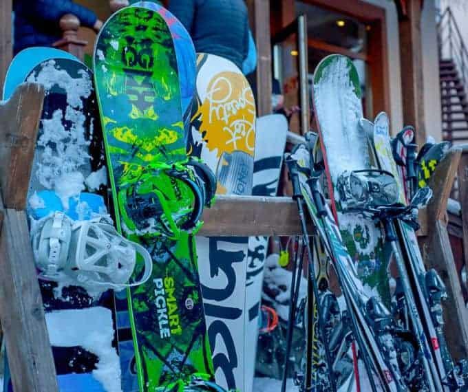 snowboard and ski on rack at Australian ski resort