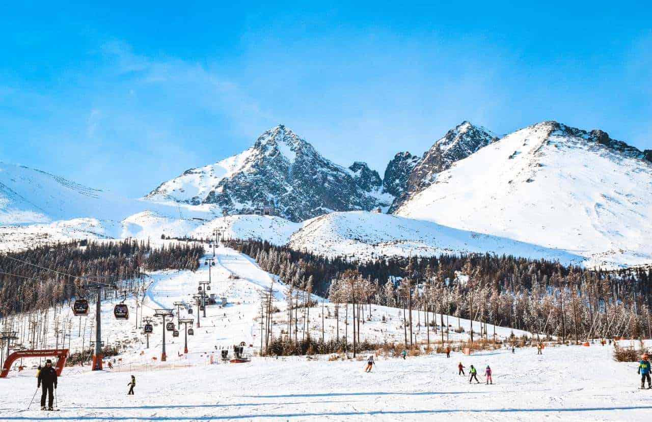 Skiing at the High Tatra National Park. Travel in Slovakia by train