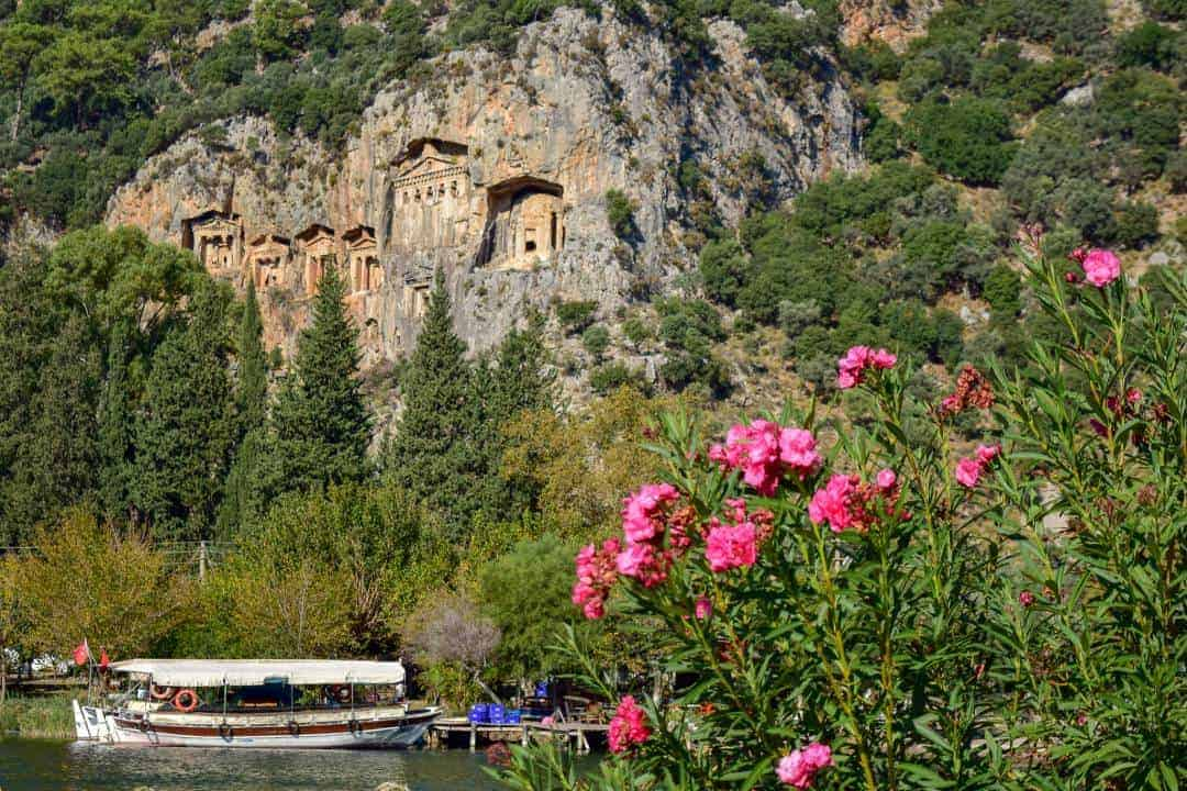 Ancient tombs carved into the rocks in Dalyan