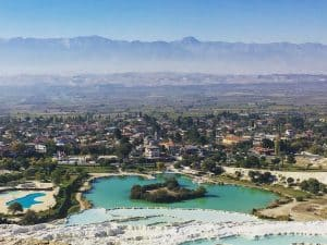 Visit Pamukkale - Overlooking Pamukkale from the Travertines