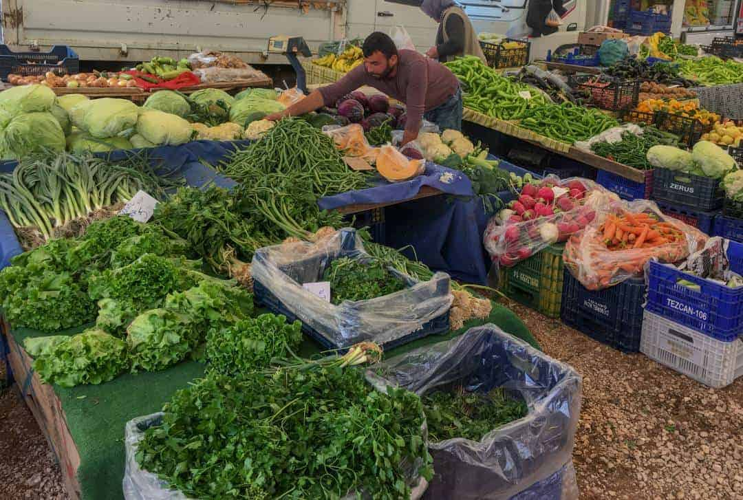 The produce section at the Friday Markets in Kaş Turkey