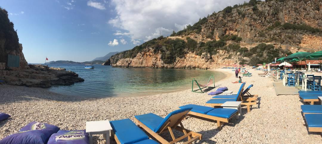 A nearly empty Ada Beach in Kaş, Turkey