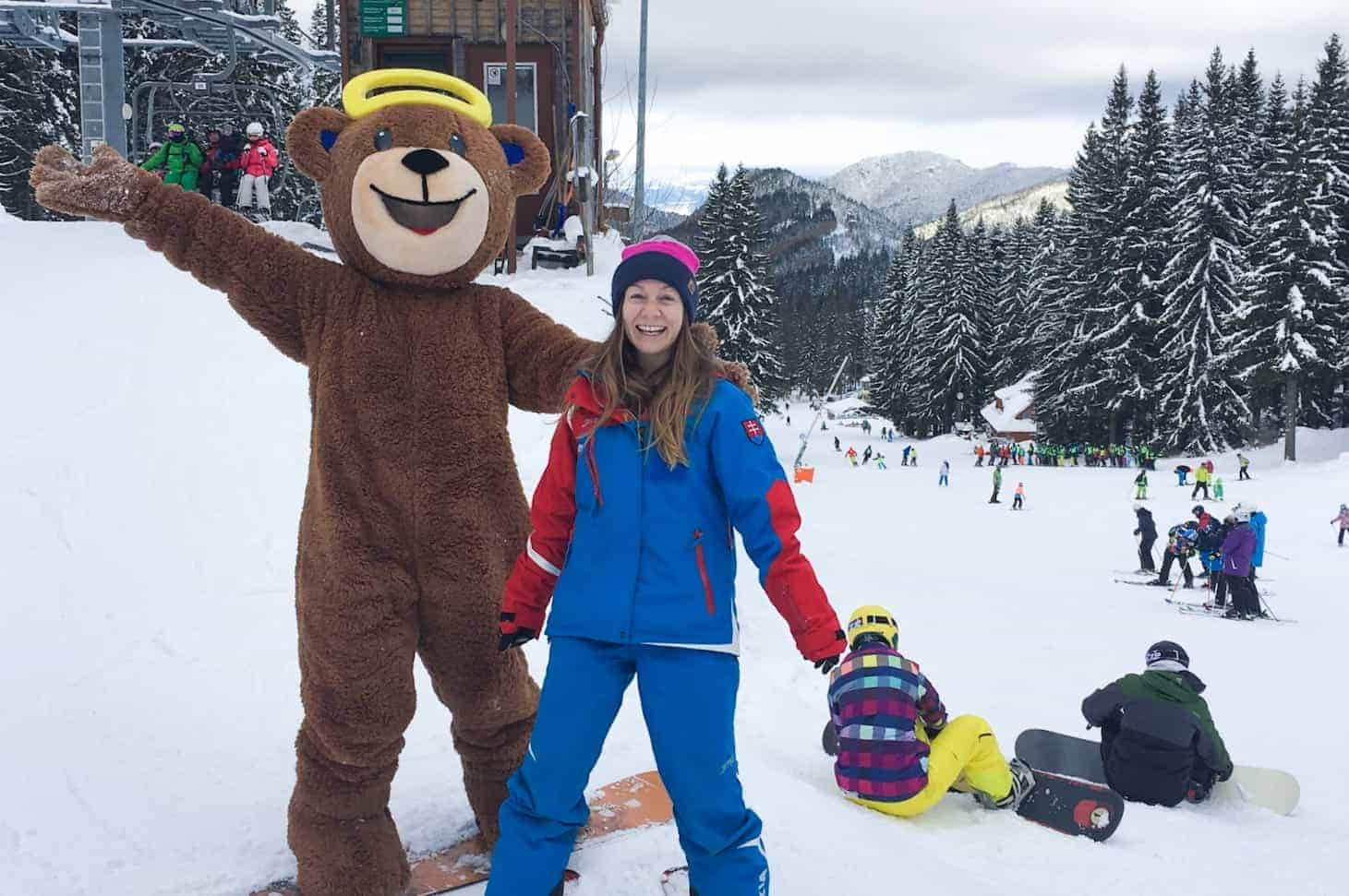 Maša the bear at ski school