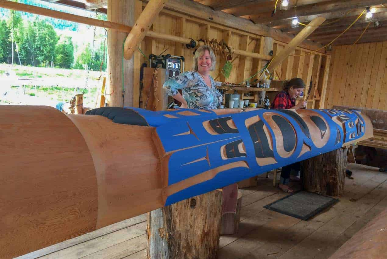 Traditional totem pole painting