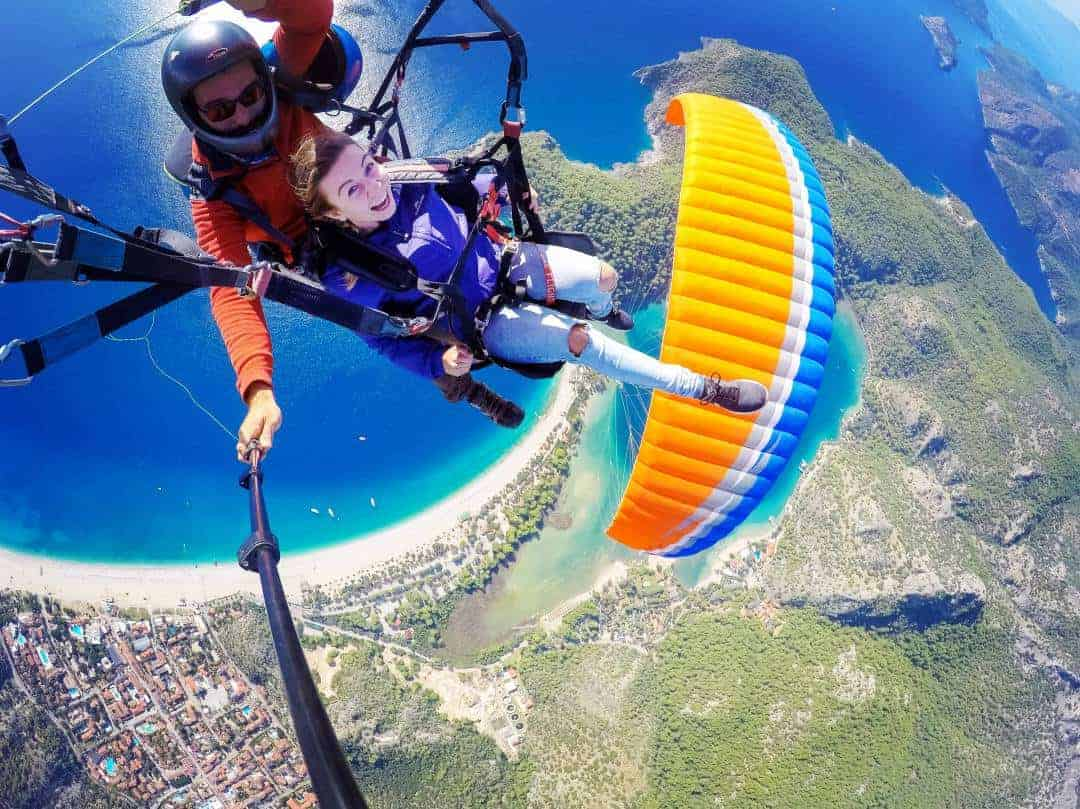 Paragliding from Babadag Mountain in Oludeniz overlooking the blue water of the Turkish Riviera