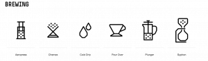 Image of different styles of brewing coffee at Padre Coffee