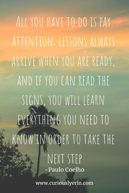 Travel Quote - All you have to do is pay attention; lessons always arrive when you are ready, and if you can read the signs, you will learn everything you need to know in order to take the next step | Inspirational Travel Quote | Wanderlust Quote | Adventure Travel Quotes