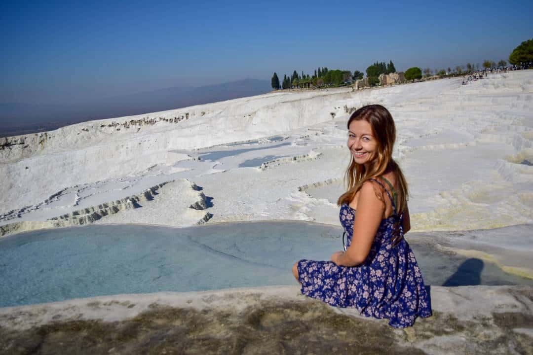 Sitting on the travertines in Pamukkale
