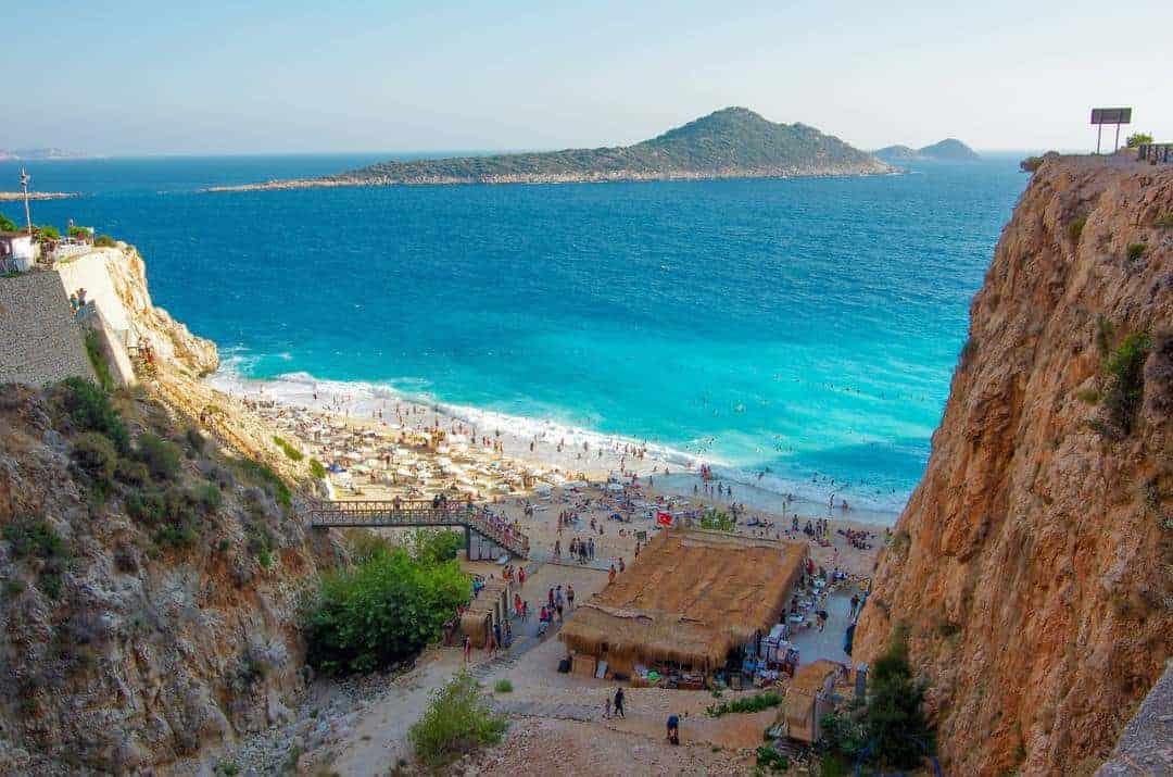 Beaches below cliffs in Antalya