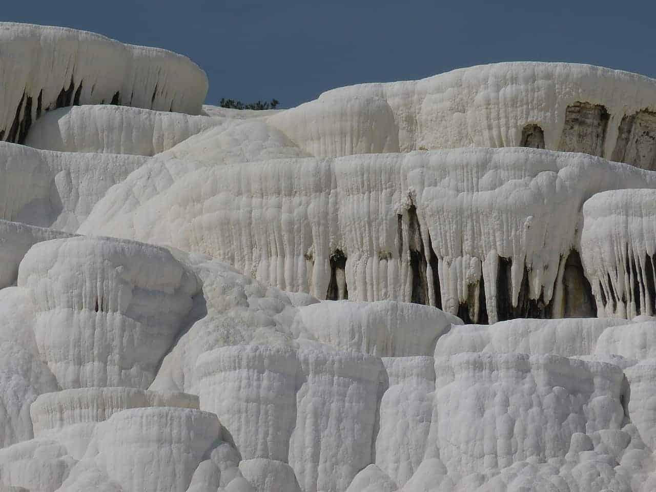 Pamukkale limestone travertines
