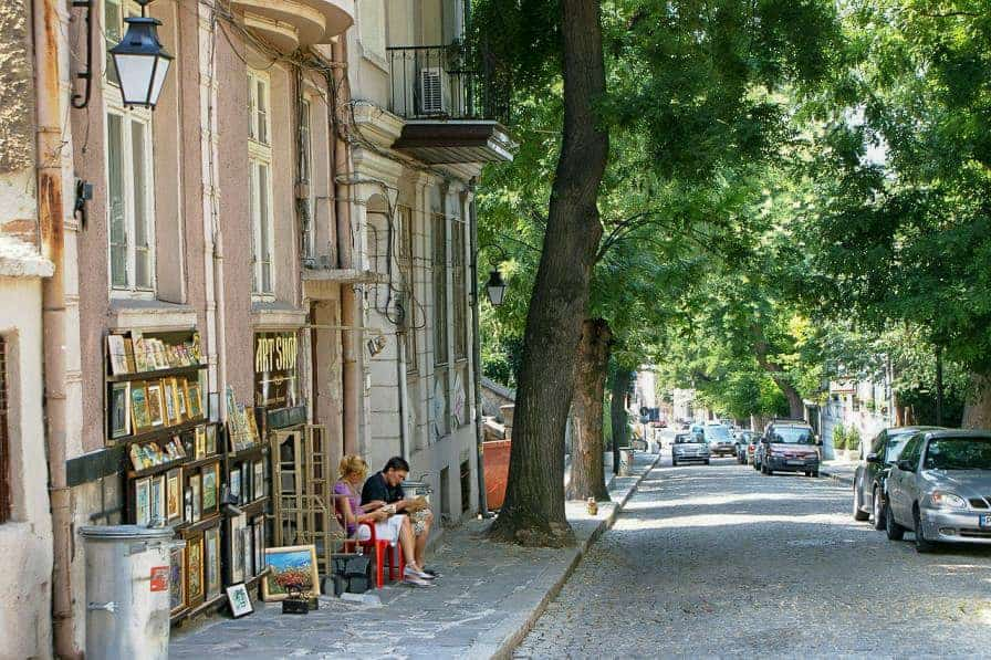The tree lined old town of Plovdiv