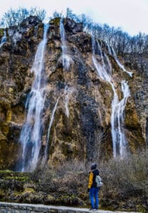 Visiting Plitvice Lakes National Park and looking tiny