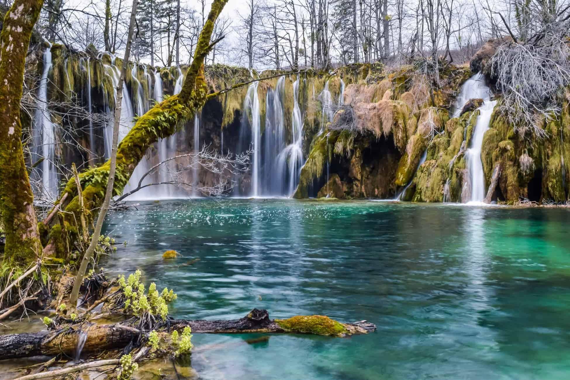 Plitvice Lakes National Park Waterfall upper lakes. Travel Croatia.
