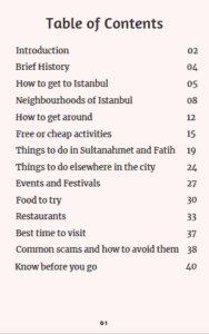 Istanbul ebook page table of contents