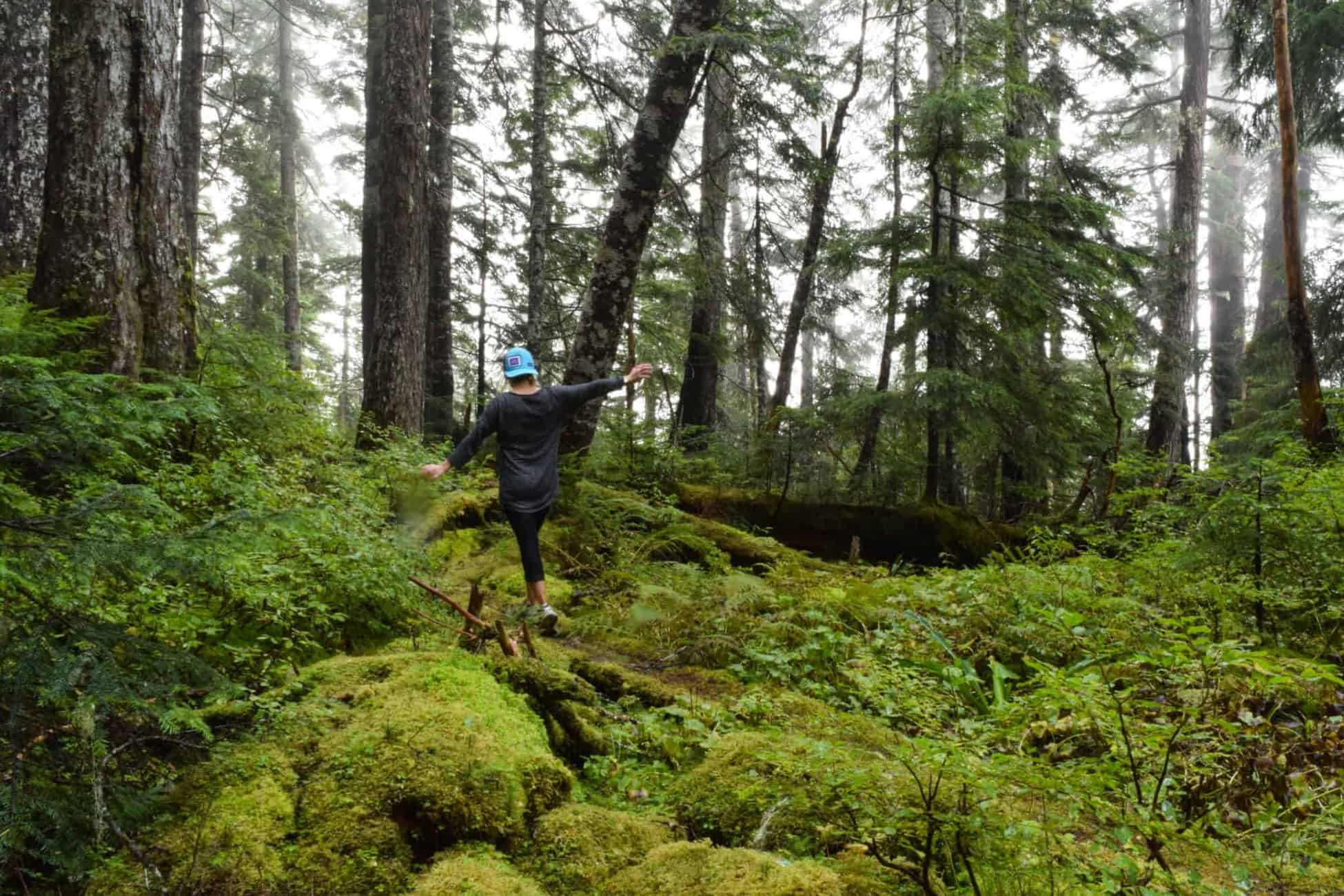 One of the best things to do in Prince Rupert is to go hiking along the many trails. Here Erin is hiking on the Kiwanis Trail.