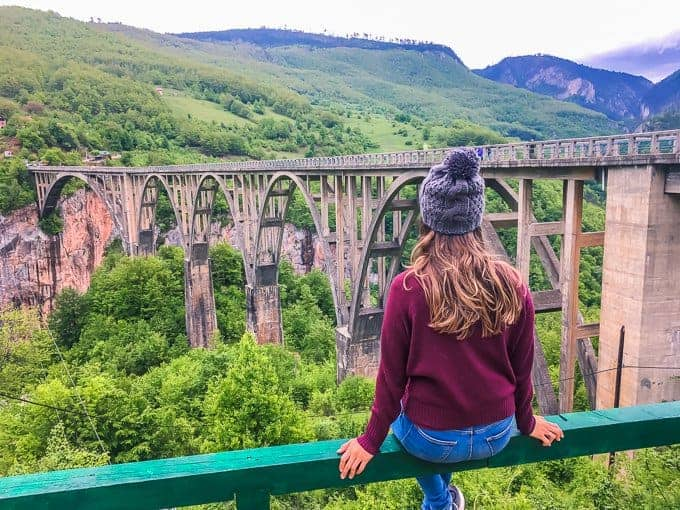 Looking out over the Tara Canyon Bridge is a top destination when backpacking Montenegro