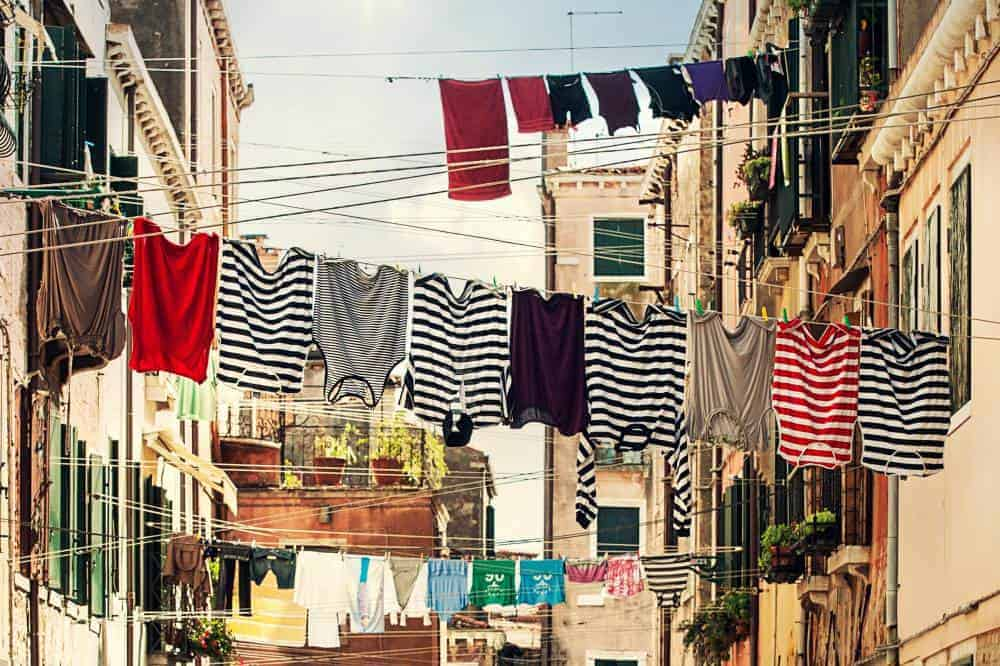 laundry hanging on line in europe
