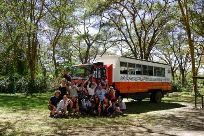 The group in front of the overlanding truck
