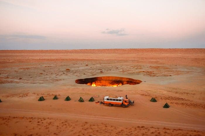 Camping at gas crater Turkmenistan
