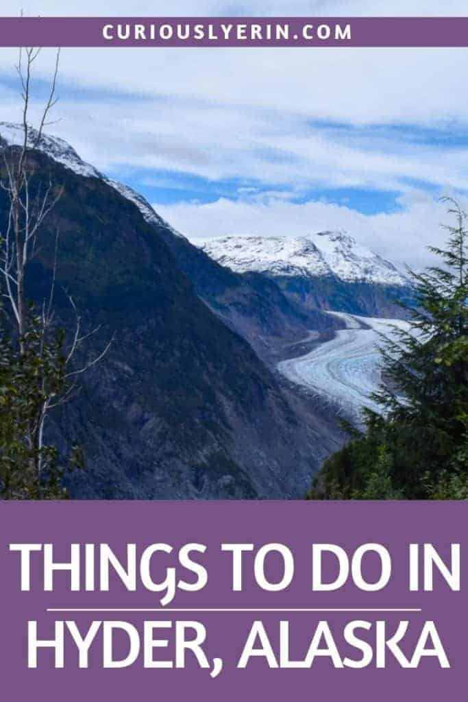 Click for the top things to do in Hyder Alaska. This tiny piece of the USA is at a dead end road from Canada. Find out where to spot the most bears and get the best views of Salmon Glacier #Hyder #travelalaska #usa