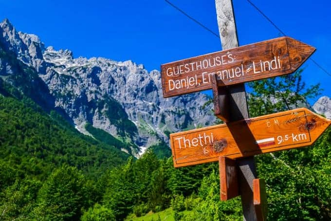 Hiking from Valbona to Theth signage