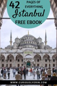FREE EBOOK! Visit Istanbul for the most chaotic, colourful, magical city experience. Comprising of Asia and Europe, Istanbul Turkey is the heart of east meets west. This HUGE FREE ebook is the ultimate budget travellers guide to Istanbul. Including things to do in Istanbul, how to get to Istanbul, neighbourhoods of Istanbul and much more. Download your free copy today at www.curiouslyerin.com #Istanbul #Travelturkey #Istanbulguide #wheretostayinistanbul