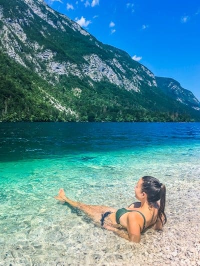 relaxing in Lake Bohinj, Slovenia, Europe