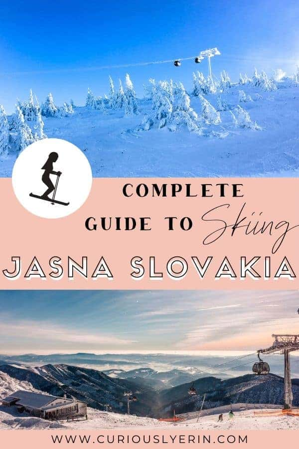 The complete guide to skiing at Jasna Slovakia. Jasna is the largest ski resort in Slovakia and makes a perfect family-friendly and budget ski destination in Europe #skiEurope #travelslovakia #wintertravel #skitrip
