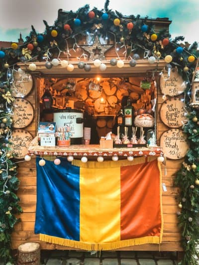 Cute wooden stalls at the Brasov Christmas Market