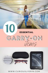 The ultimate guide of essentials carry on items you need for your next flight. How to survive and enjoy a long flight with whats in your carry on bag #packinglist #travel #traveltips #travelgear #carryonbagessentials