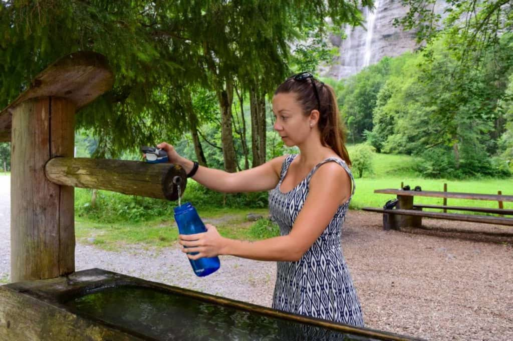 Reusable water bottles can be filled for free