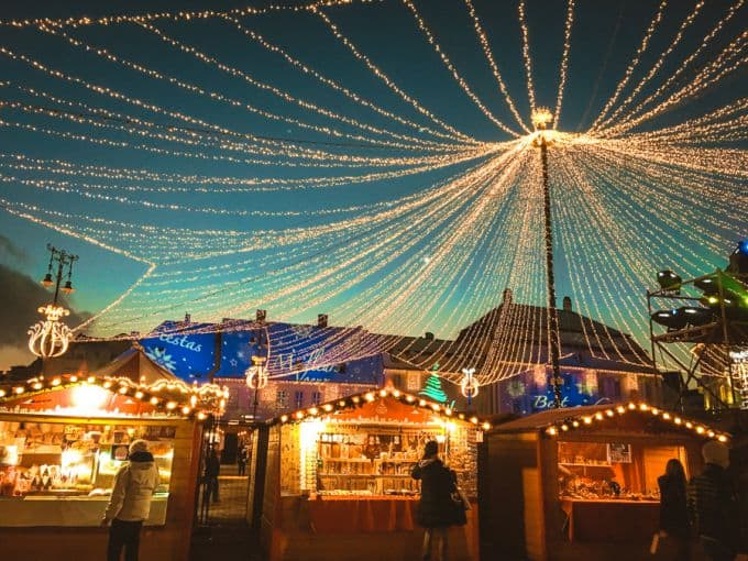 The beautiful hanging light canopy over Sibiu Christmas markets
