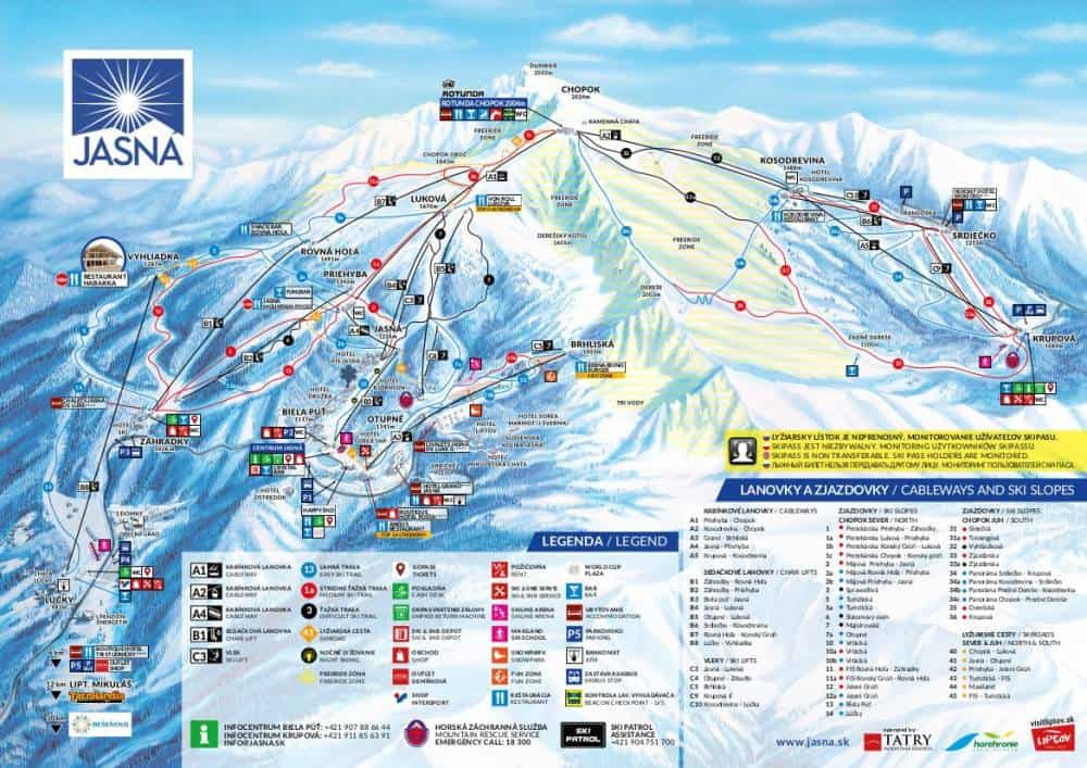 jasna ski trail map