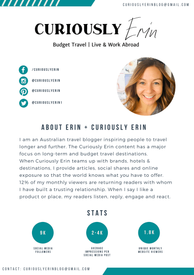 Curiously Erin Media Kit