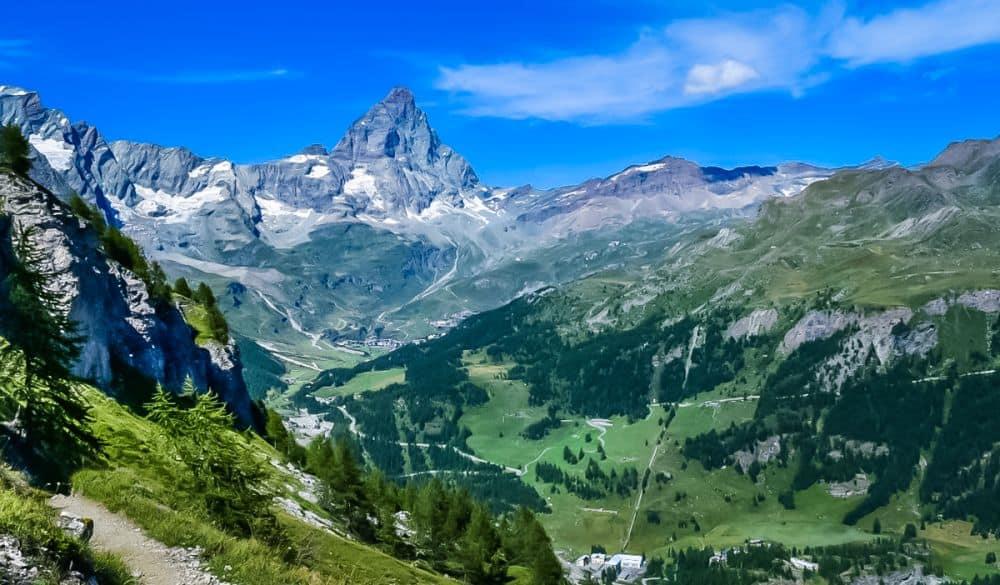 Views of the Matterhorn hiking in Aosta Valley