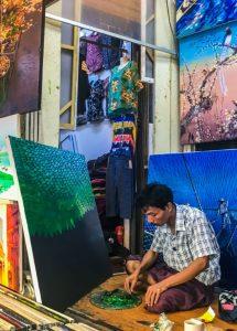 Bogyoke Aung San Market artist painting