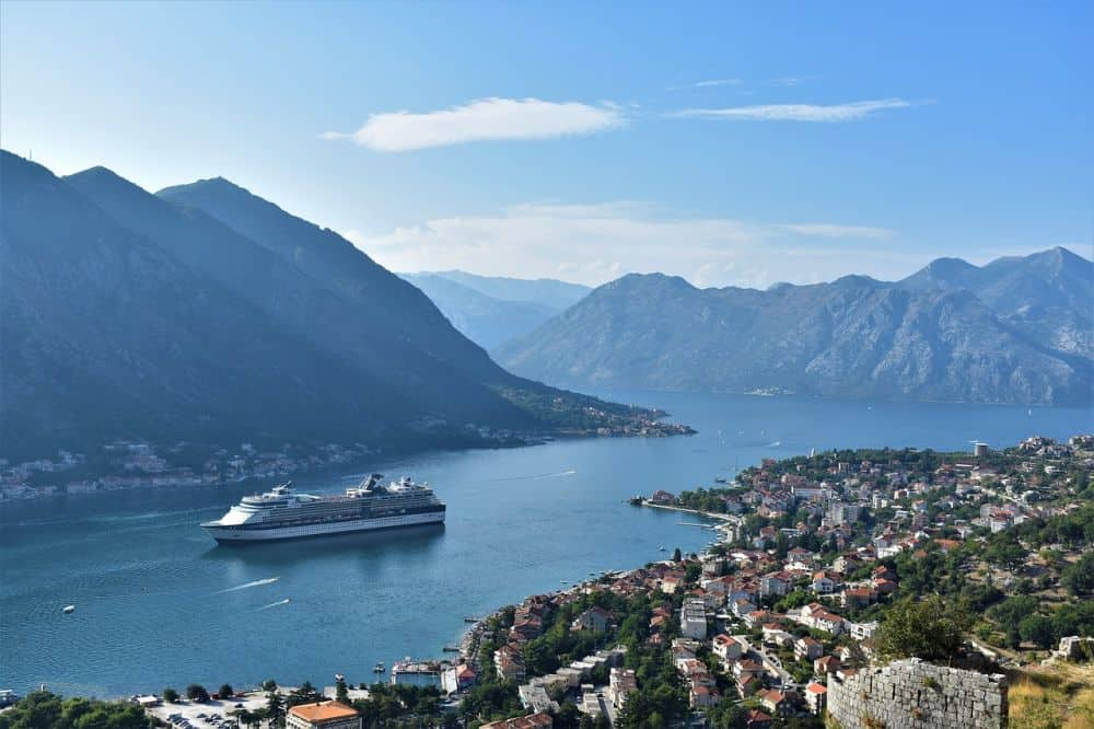 Cruise ship in the harbour of Kotor