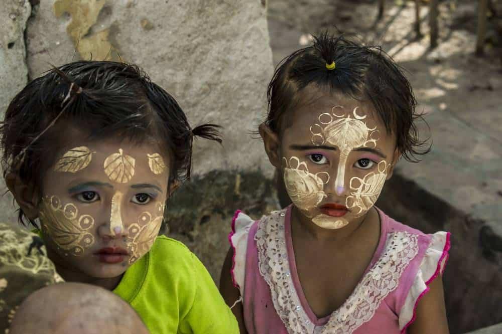 Burmese children wearing Thanaka