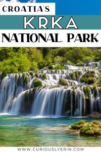 Visit Krka National Park during your trip to Croatia. Easily accessed from anywhere in the country. This Croatian National Park needs to be on your bucket list. Experience stunning blue green waters, cascading waterfalls and travertines #KrkaNationalPark #Croatia #Balkans #BalkanTravel #Europe