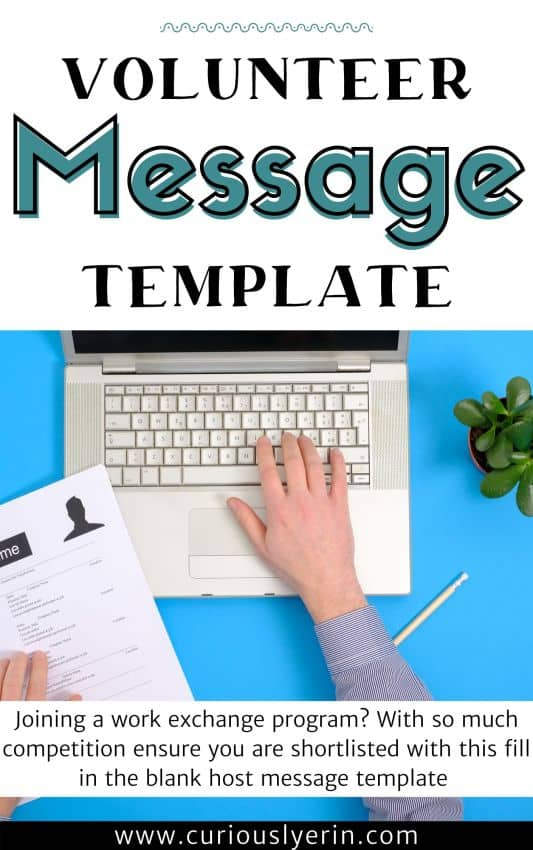 Volunteer host message template