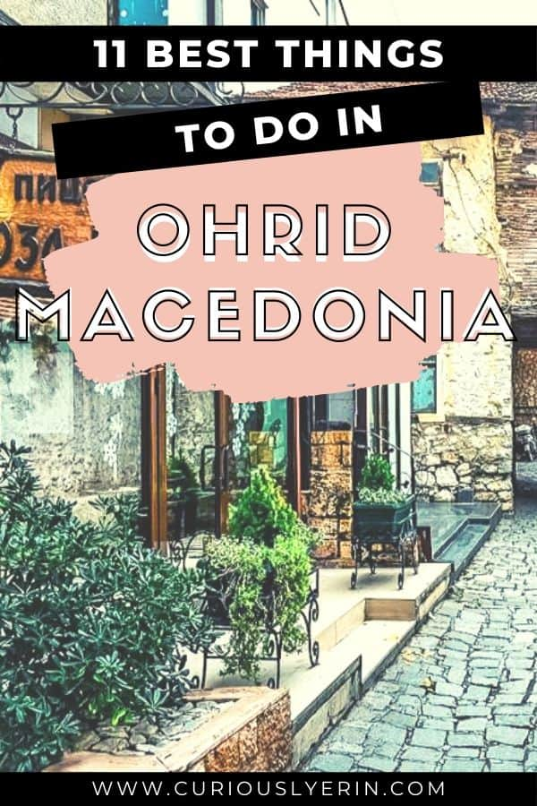 Discover what to do in Ohrid, North Macedonia. This charming lakeside town is one of Europes best-hidden gems. Spend your days lazing by the water, kayaking, boating and eating delicious food all at a cheap price. Enjoy accommodation that offers views of the lake and learn why Ohrid is called the Jerusalem of the Balkans #easterneuropetravel #wheretotravelineurope #ohrid #balkantravel