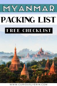 Discover the best Myanmar packing list in this what to pack for Myanmar guide. Myanmar is a diverse Southeast Asian country with different climates and tropical seasonalities. Includes a free downloadable checklist to ensure you don't forget anything. #myanmarpacking #packinglist #myanmartravel #myanmarclothes