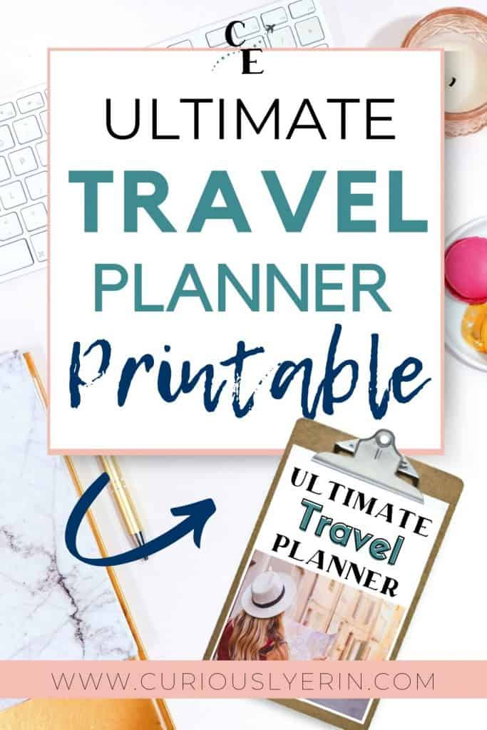 Get organized before your next vacation. Use this travel planner printable to keep all of your trip research, bookings, itinerary and checklists in one easy to access place. This printable travel planner is perfect for your trip planning budget, planning your itinerary, comparing the best prices for accommodation, transport and tours, alleviating stress with checklists for pre-departure and packing,  tracking expenses, and much more! #tripplanningtemplate #travelessentials #travelplanner