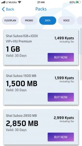 Telenor Myanmar data packs